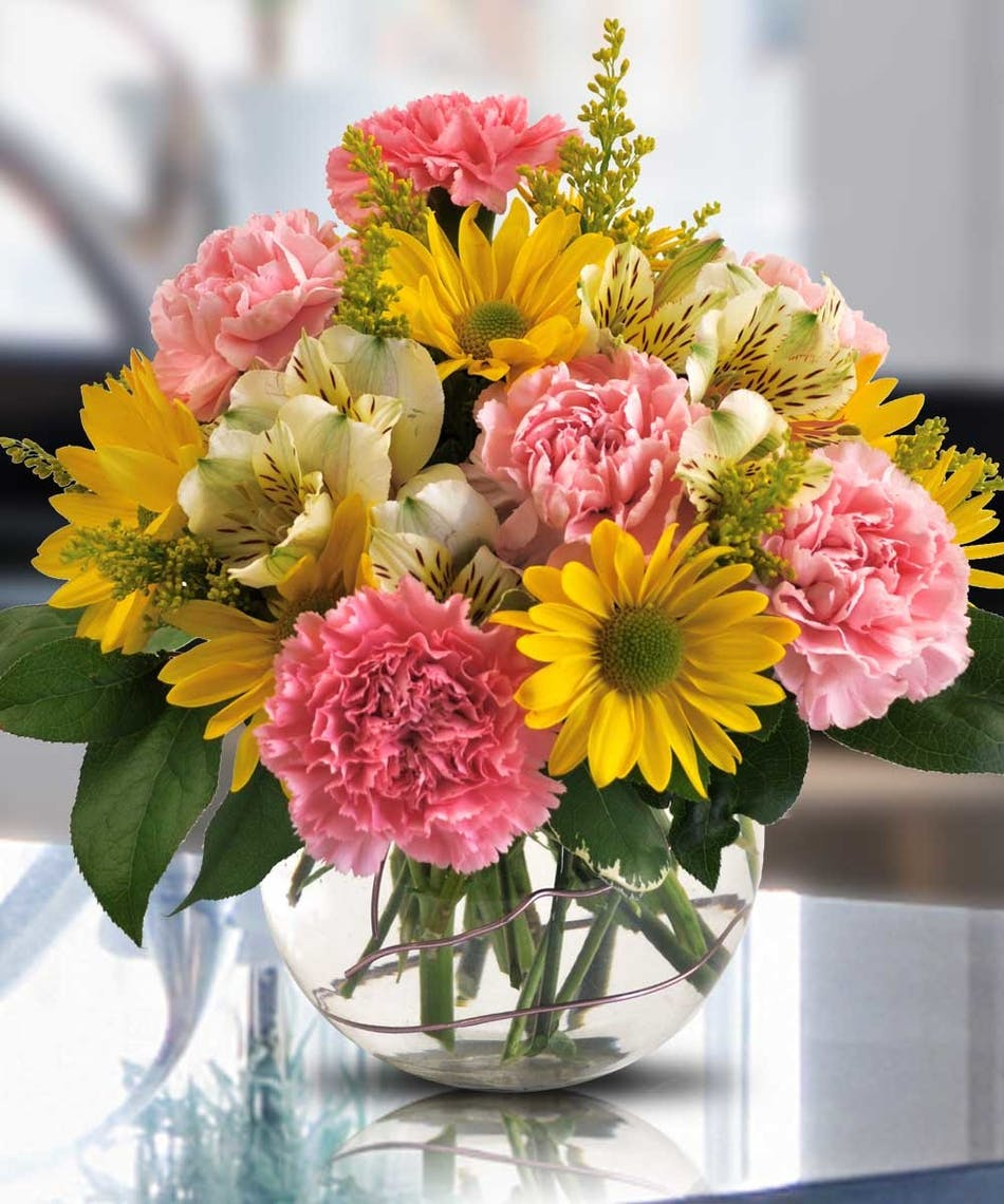 Thoughtful lovely pink and yellow flowers river dell flowers thoughtful lovely pink and yellow flowers river dell flowers oradell florist flower delivery mightylinksfo