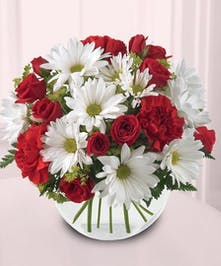 A pretty red and white mix for any sweetheart.