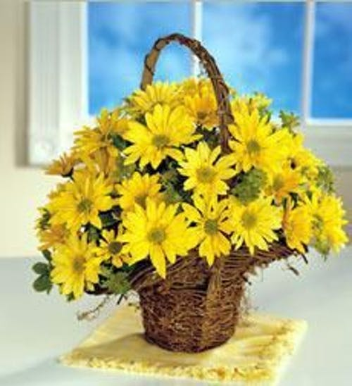 Yellow Daisy Basket
