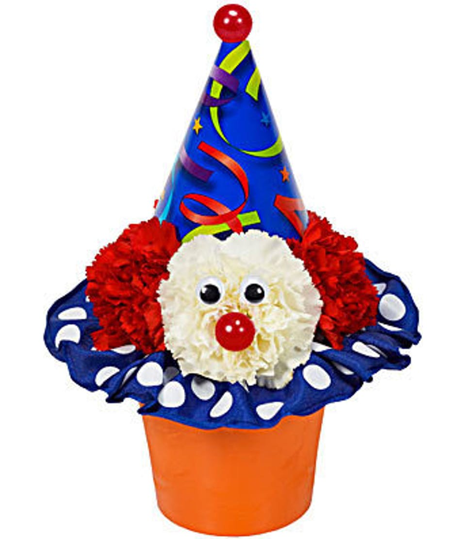 Clown cupcake river dell flowers oradell florist flower delivery izmirmasajfo Choice Image