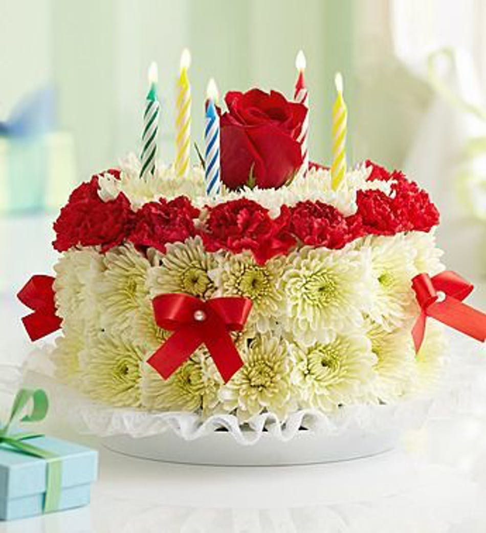 Birthday flower cake river dell flowers oradell florist flower local only izmirmasajfo