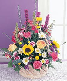 Filled with assorted cut flowers