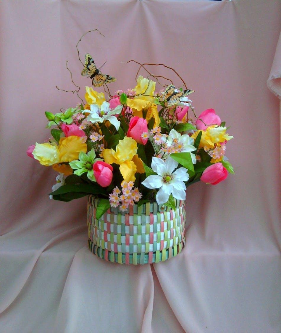 Pastel silk basket silk flowers river dell flowers oradell pastel silk basket silk flowers river dell flowers oradell florist flower delivery mightylinksfo