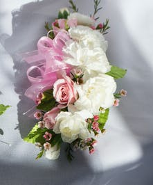 White Mini Carnations and spray roses