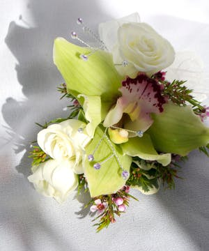Green Cymbidium Orchid with Roses